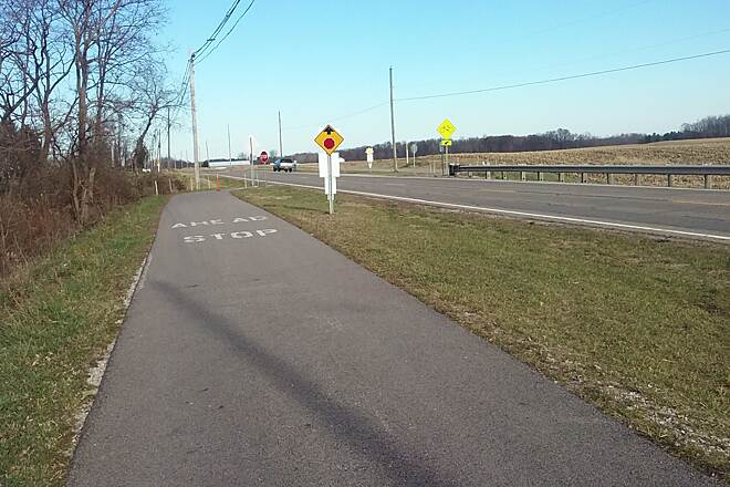 Heart of Ohio Trail Northbound November 2015 Trail crosses US 36/Columbus Rd North of Centerburg, OH