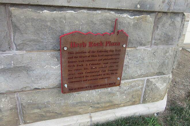 Heart of Ohio Trail Herb Rock Plaza Sign at the Mount Vernon Trailhead.  This is on the former train station.