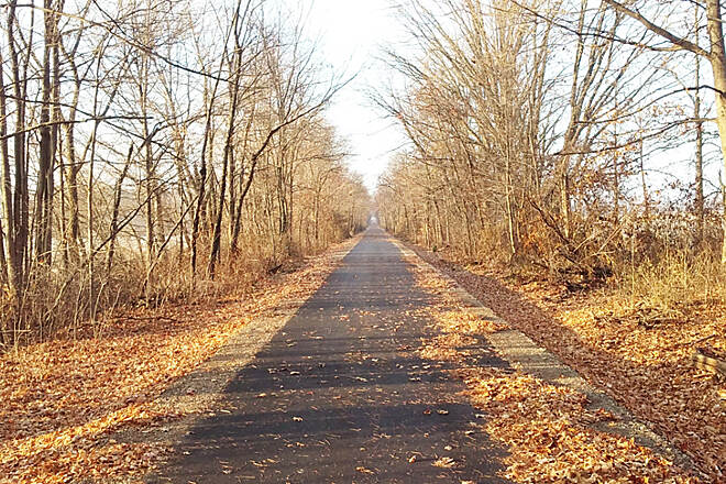 Heart of Ohio Trail Northbound Nov 2016 Newly paved section, Huffman Rd (CR 104) to downtown Centerburg