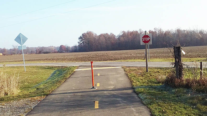 Heart of Ohio Trail Northbound Nov 2016 Intersection with N County Line Rd (CR 51) from Meredith State Rd (CR 46), presumably the trail will cross the corn field ahead to connect with the rest of the Heart of Ohio Trail