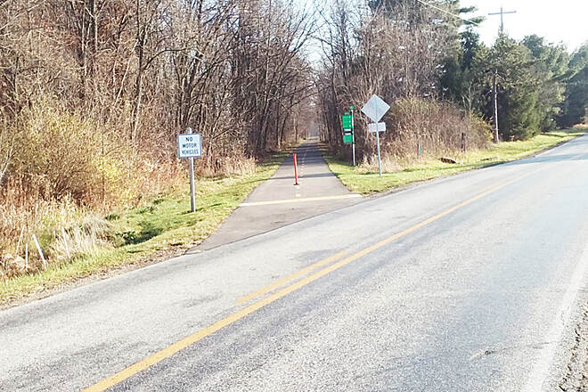 Heart of Ohio Trail Northbound Nov 2016 Newly paved section Meredith State Rd (CR 46) to N County Line Rd (CR 51)