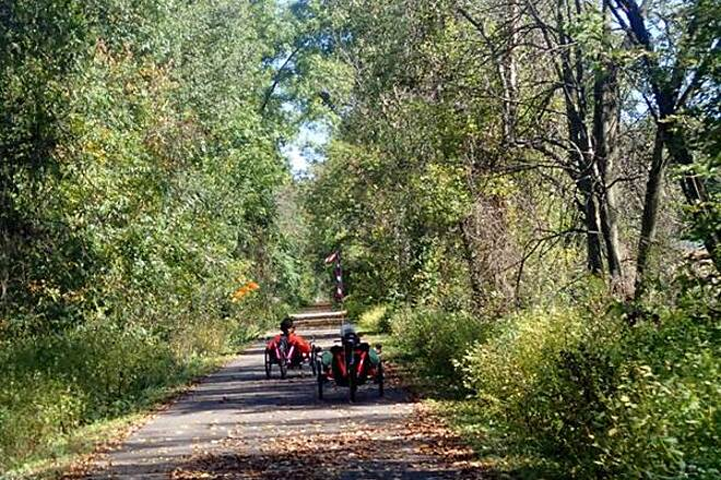 Heart of Ohio Trail Riding the trail two tadpole recumbent trikes riding the trail in early October.