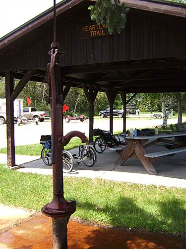 Heartland State Trail Heartland State Trail Rest stop on Leech Lake - well water really full of iron (red)