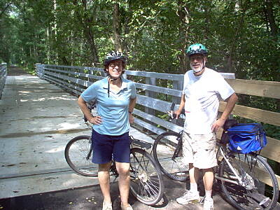 Henry Hudson Trail  Two riders pausing for a photo-op This 100 foot long newly constructed bridge crosses the gorge over the Big Brook 40 feet below, the 'Grand Canyon' of the Henry Hudson Trail Southern Extension.