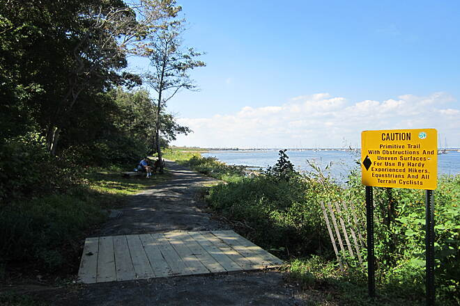 Henry Hudson Trail  Sign The bench mid-way through the trail is a great place to take a break and have a snack