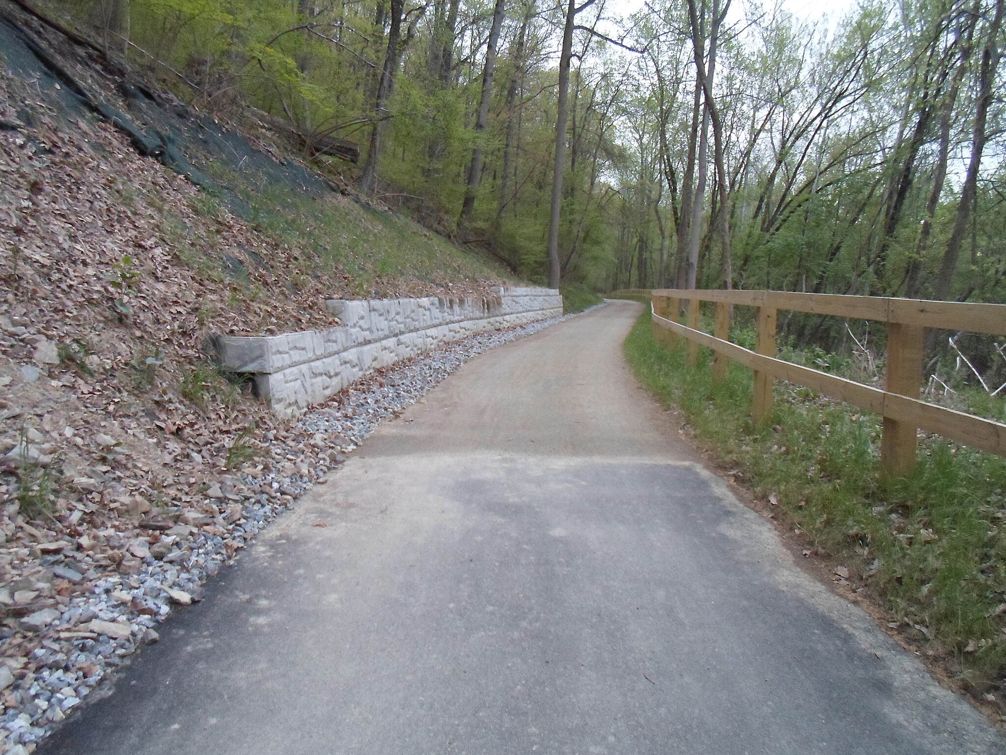 Heritage Rail Trail County Park Heritage Rail Trail Park The surface of the Northern Extension changes from asphalt to crushed stone about halfway between Mundis Mill Road and Route 30. Taken April 2015.