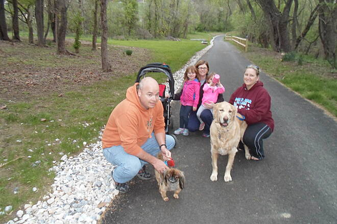 Heritage Rail Trail County Park Heritage Rail Trail Park Family enjoying a spring evening checking out the newly completed segment of the trail's Northern Extension in northwest Springettsbury Twp. Taken April 2015.