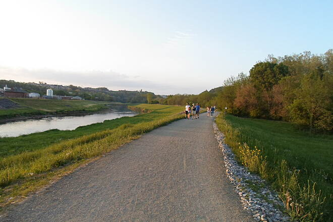 Heritage Rail Trail County Park Heritage Rail Trail Park Trail users enjoying a warm, spring evening on the newly completed Northern Extension north of Route 30. Taken May 2015.