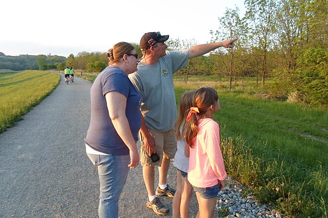Heritage Rail Trail County Park Heritage Rail Trail Park This family was birdwatching and looking for an eagles' nest in the trees between the Northern Extension and the nearby Norfolk Southern RR tracks. Taken May 2015.