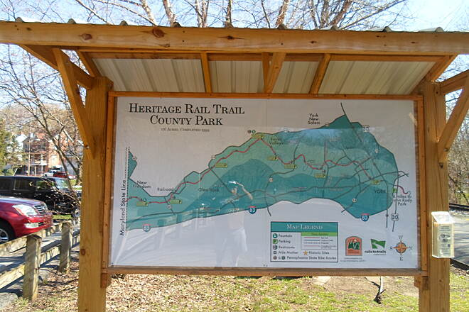 Heritage Rail Trail County Park Heritage Rail Trail Park Detailed map for a state-of-the-art trail. Taken at the  kiosk at the Railroad trailhead, April 2015.