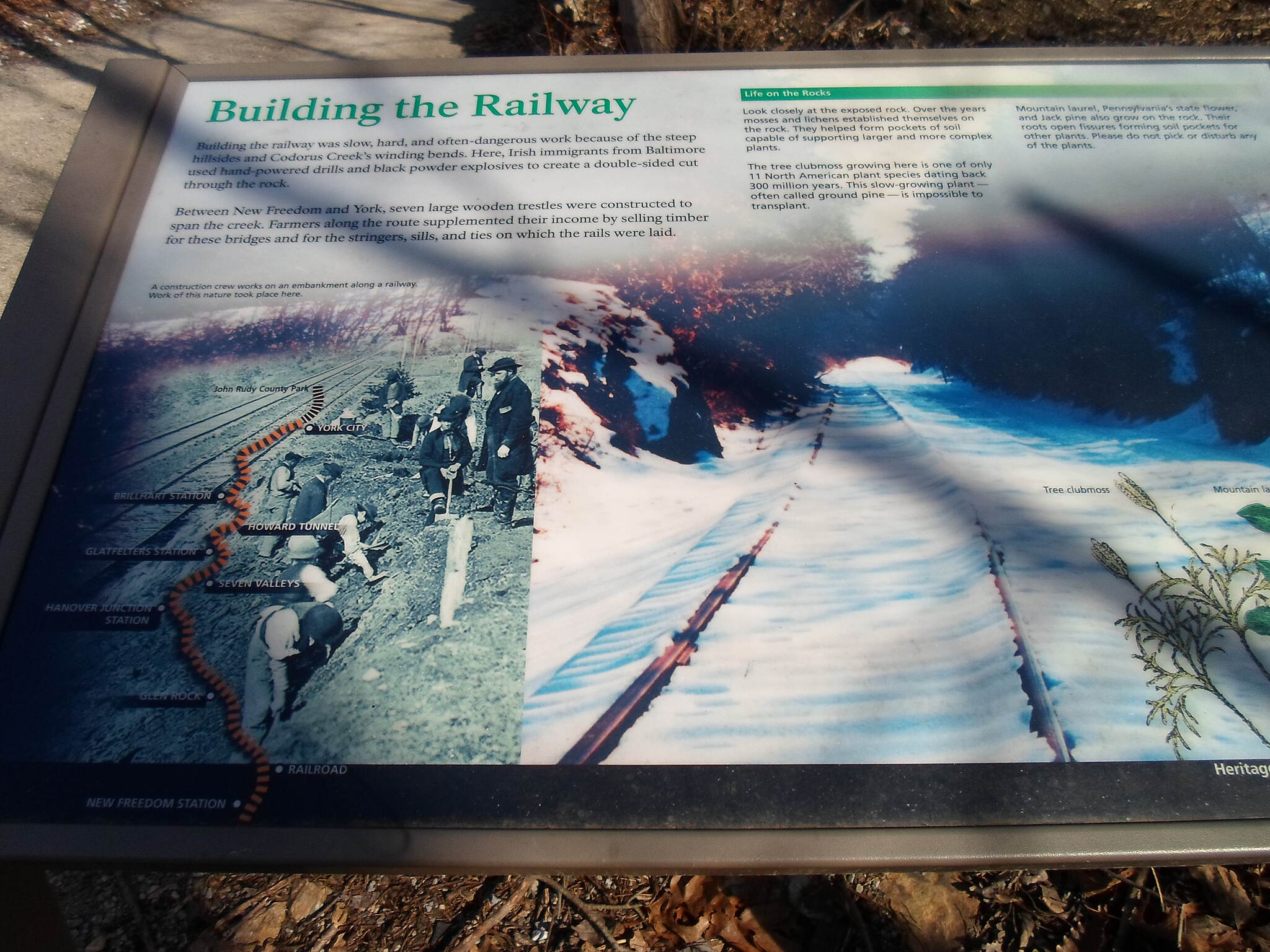 Heritage Rail Trail County Park Heritage Rail Trail Park This interpretive sign tells the story of the construction of the North Central RR, one of the nation's oldest, in the early 19th century.