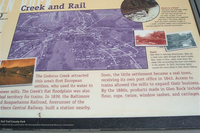 Heritage Rail Trail County Park York County Heritage Rail Trail Interpretive sign explaining the railroad's relationship to the East Branch of the Codorus Creek, which it (and the trail) follows for most of its course in Pennsylvania
