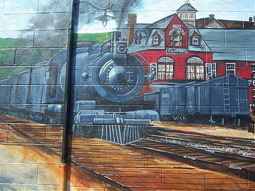 Heritage Rail Trail County Park York County Heritage Rail Trail Closeup of the train depicted on the Glen Rock mural