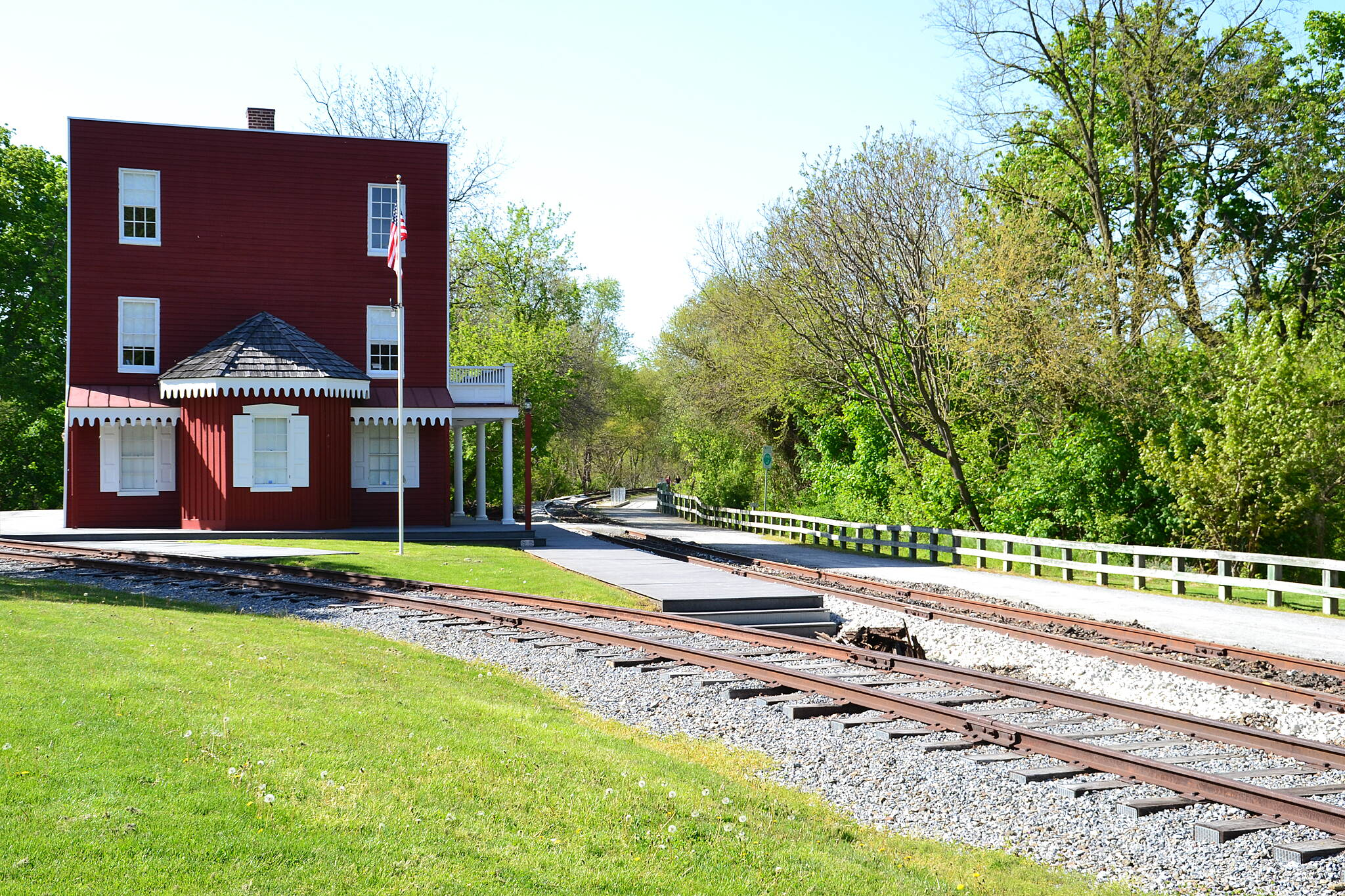 Heritage Rail Trail County Park Hanover Junction Railroad Station Hanover Junction Railroad Station, taken from just south of the station on May 5th, 2013.