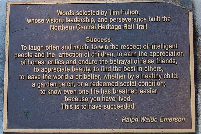 Heritage Rail Trail County Park Inspiring words @ Hanover Jctn Quote by Ralph Waldo Emerson that inspired Tim Fulton, man behind the trail