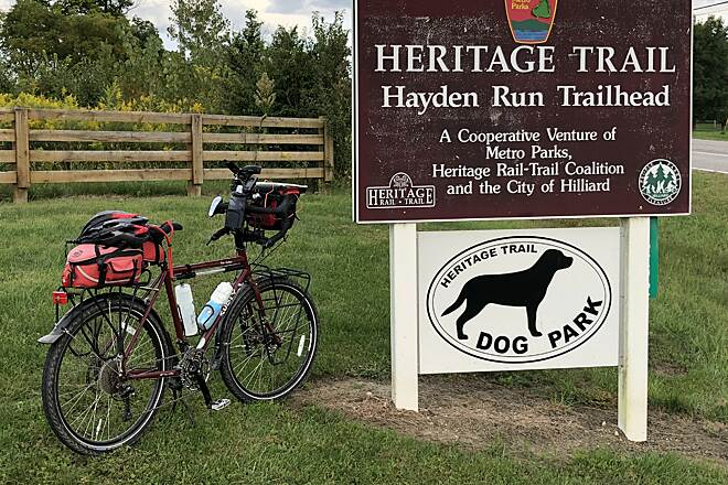 Heritage Rail-Trail Trailhead Near the Midpoint The Hayden Run Road Trailhead is near the middle of this 6.1 mile trail.  September 16, 2018.