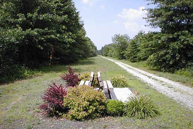 Heritage Trail (aka Orange Heritage Trail) Orange Heritage Trail Benches for relaxing on the unpaved trail segment near Goshen, NY.