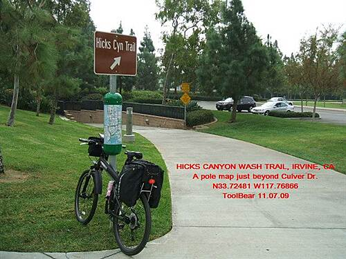 Hicks Canyon Trail HICKS CANYON TRAIL, IRVINE, CA Signage is sparse, but the pole maps are great.