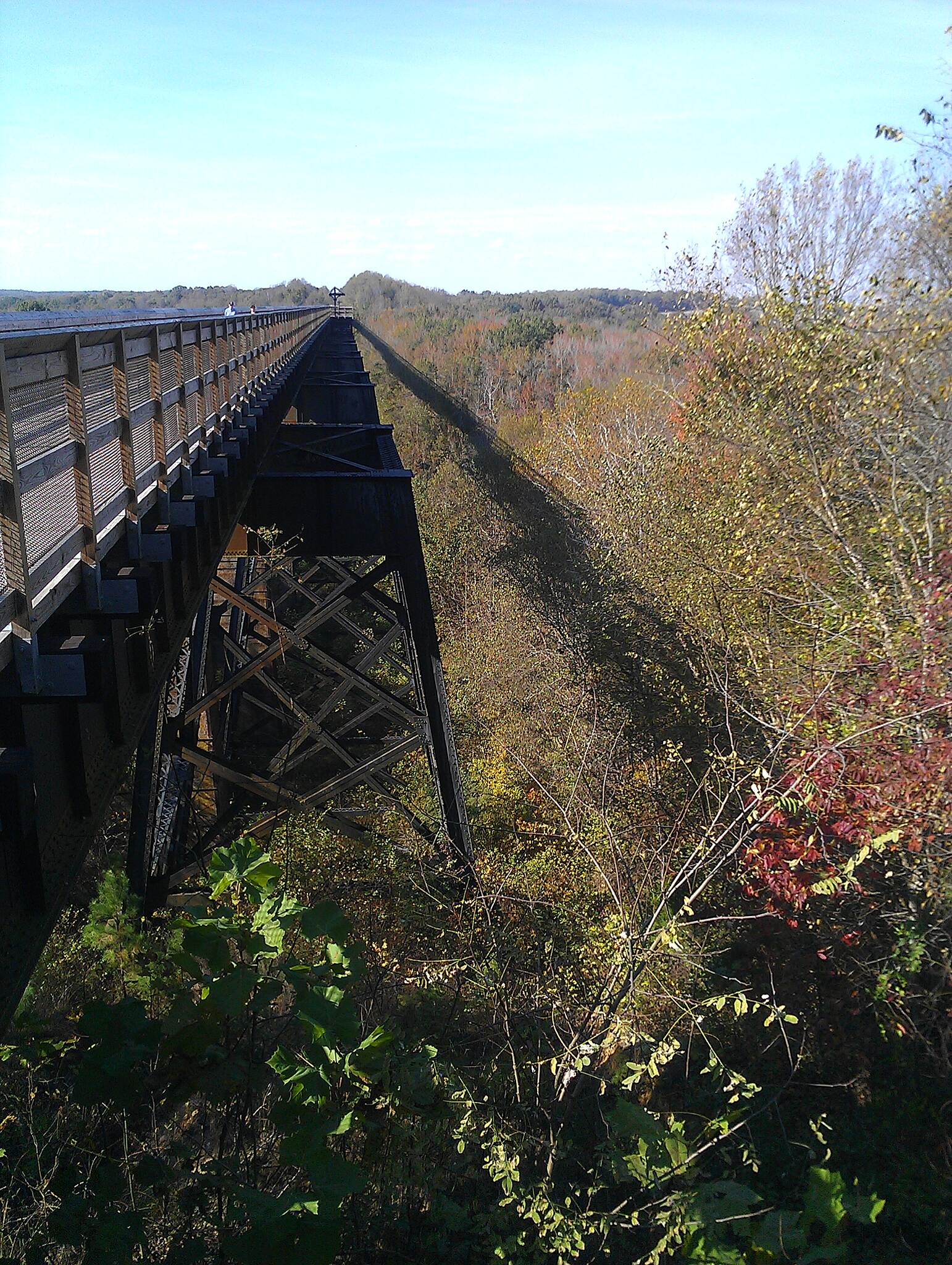 High Bridge Trail Bridge and its shadow. Afternoon view of the eastern end of the bridge.
