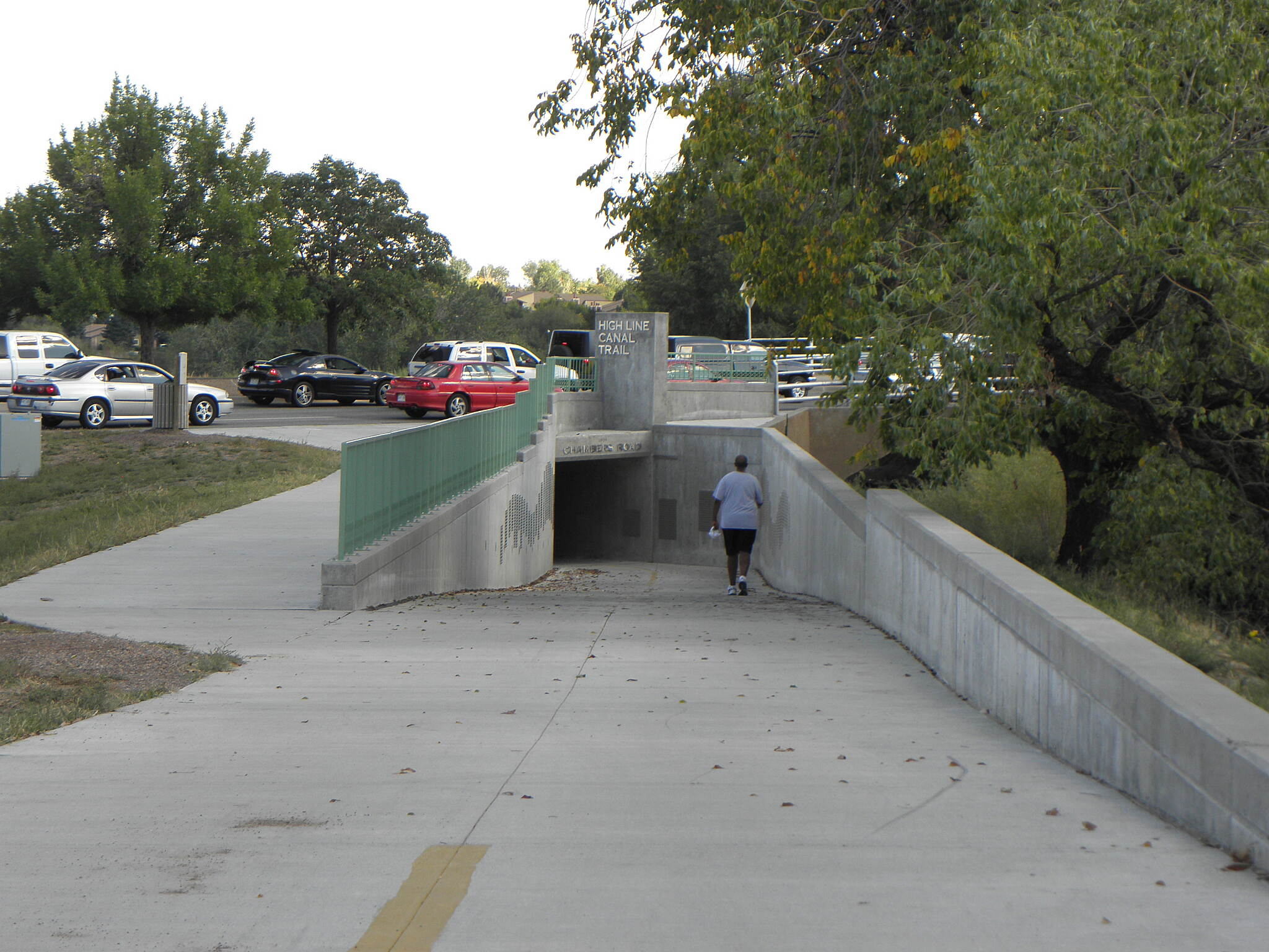 High Line Canal Trail (CO) New trail underpass/tunnel Under busy Chambers Road in Aurora.