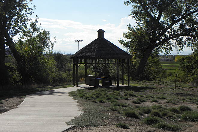 High Line Canal Trail (CO) Nice picnic gazebo Next to Center Hills Golf Course in Aurora.