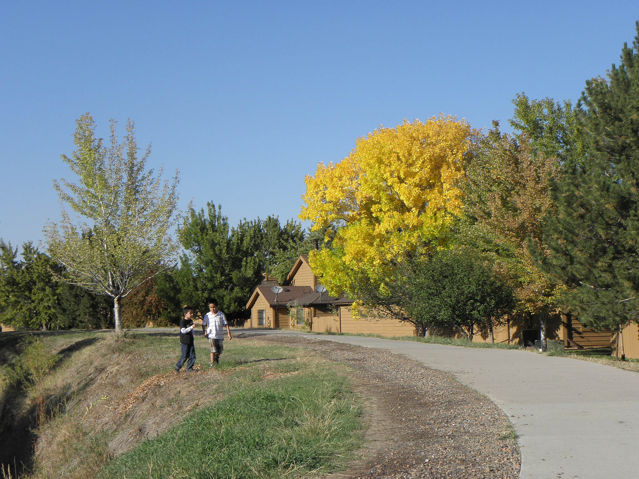 High Line Canal Trail (CO) After school on a sunny Autumn day In Aurora.