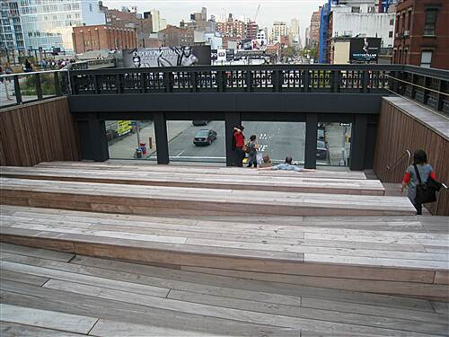 High Line High Line View through street overlook on High Line's 10th Avenue Square