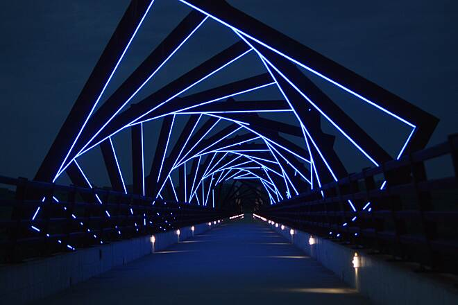 High Trestle Trail High Trestle Lights It's worth hanging around until after dark to see the special lighting.