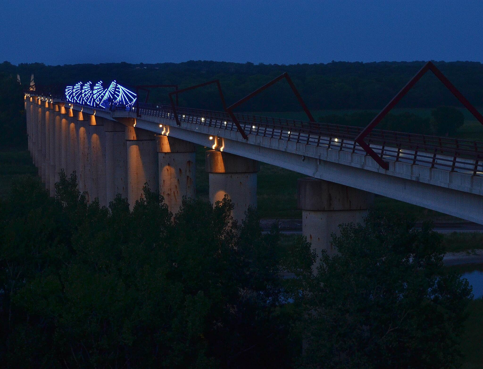 High Trestle Trail High Trestle at Night Time exposure, early evening.  The bridge center has special illumination.