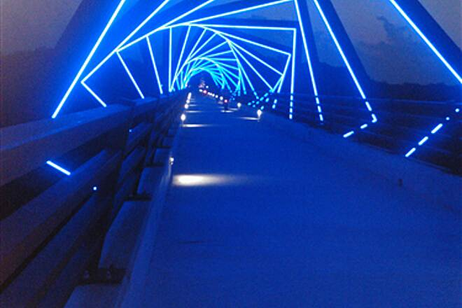 High Trestle Trail High Trestle Bridge at Dusk Beautiful Night Walk in Iowa