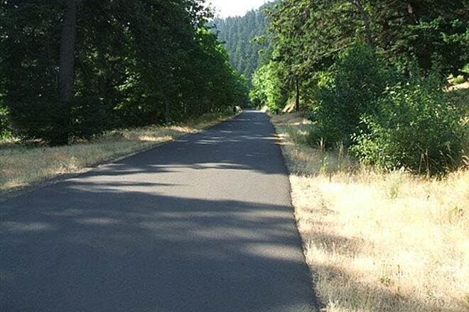 Historic Columbia River Highway State Trail Mosier Tunnels Section Up on the bench above Mark Hatfield - nice blacktop and shade