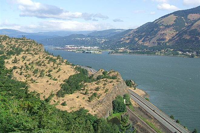 Historic Columbia River Highway State Trail View - western view point Downriver view at Western VP