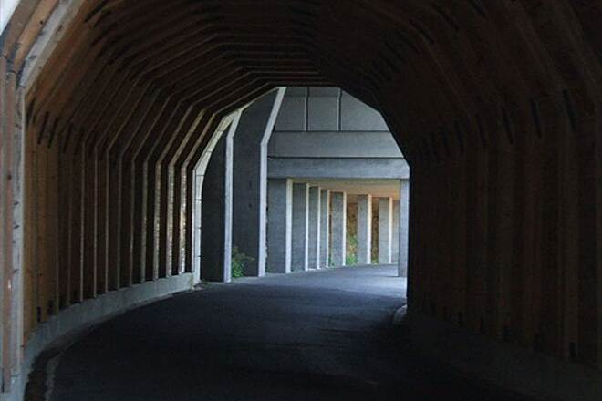 Historic Columbia River Highway State Trail HCRH - MOSIER TUNNELS SECTION Inside the western tunnel, rock shed beyond