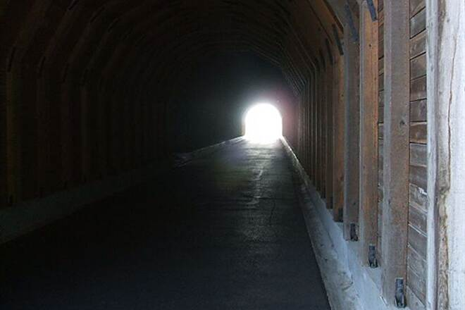 Historic Columbia River Highway State Trail HCRH - MOSIER TUNNELS SECTION The light at the end of the eastern tunnel exit