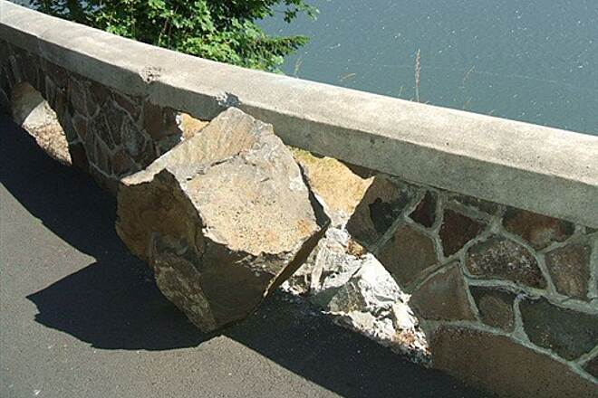 Historic Columbia River Highway State Trail HCRH - MOSIER TUNNELS SECTION Beware falling rocks at western view point
