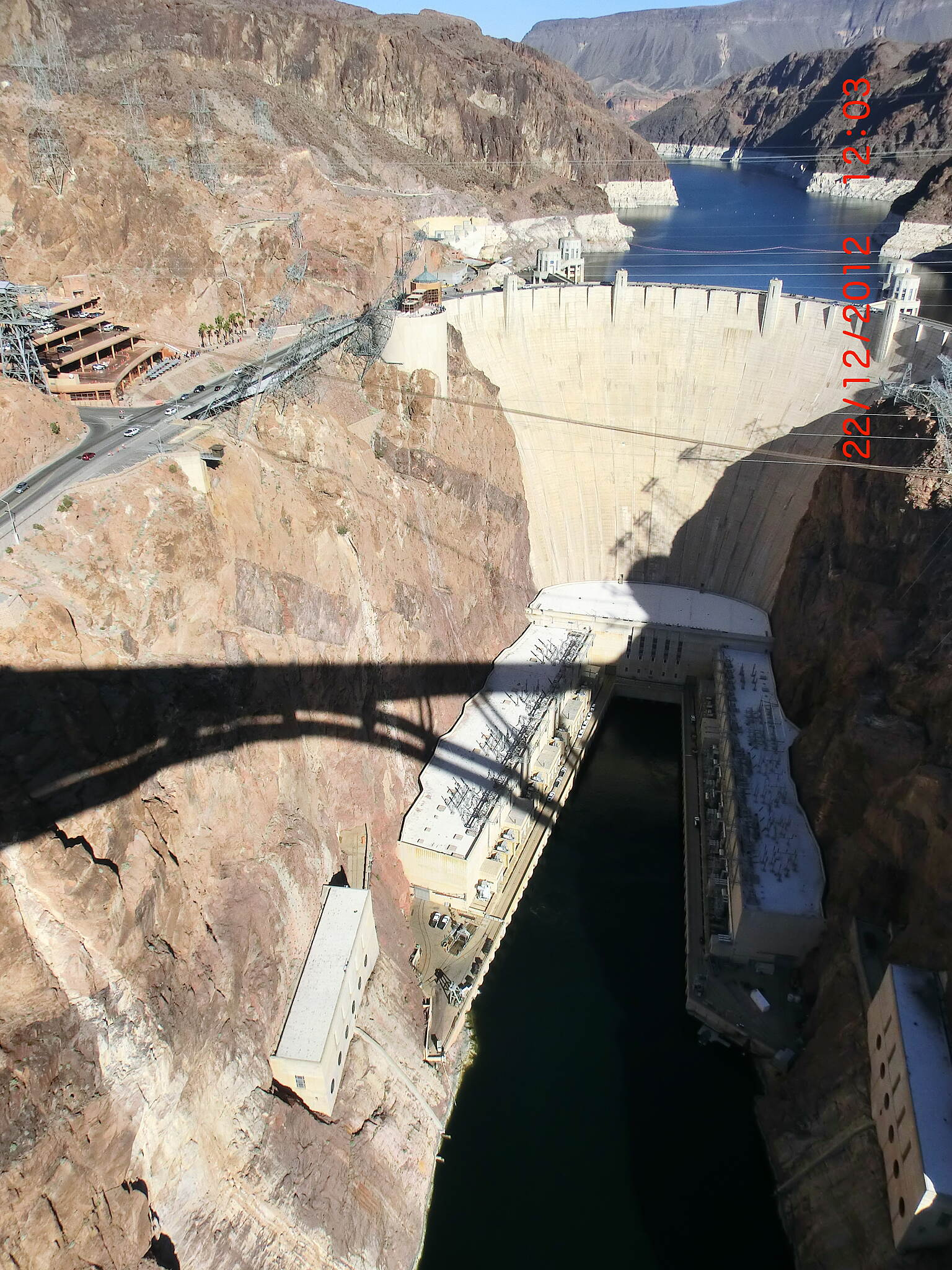 Historic Railroad Trail Hoover Dam from Bridge Shot on Saturday 12-22-2012 after mountain biking the River mountain loop trail and through the Railroad Tunnels. Fantastic ride!