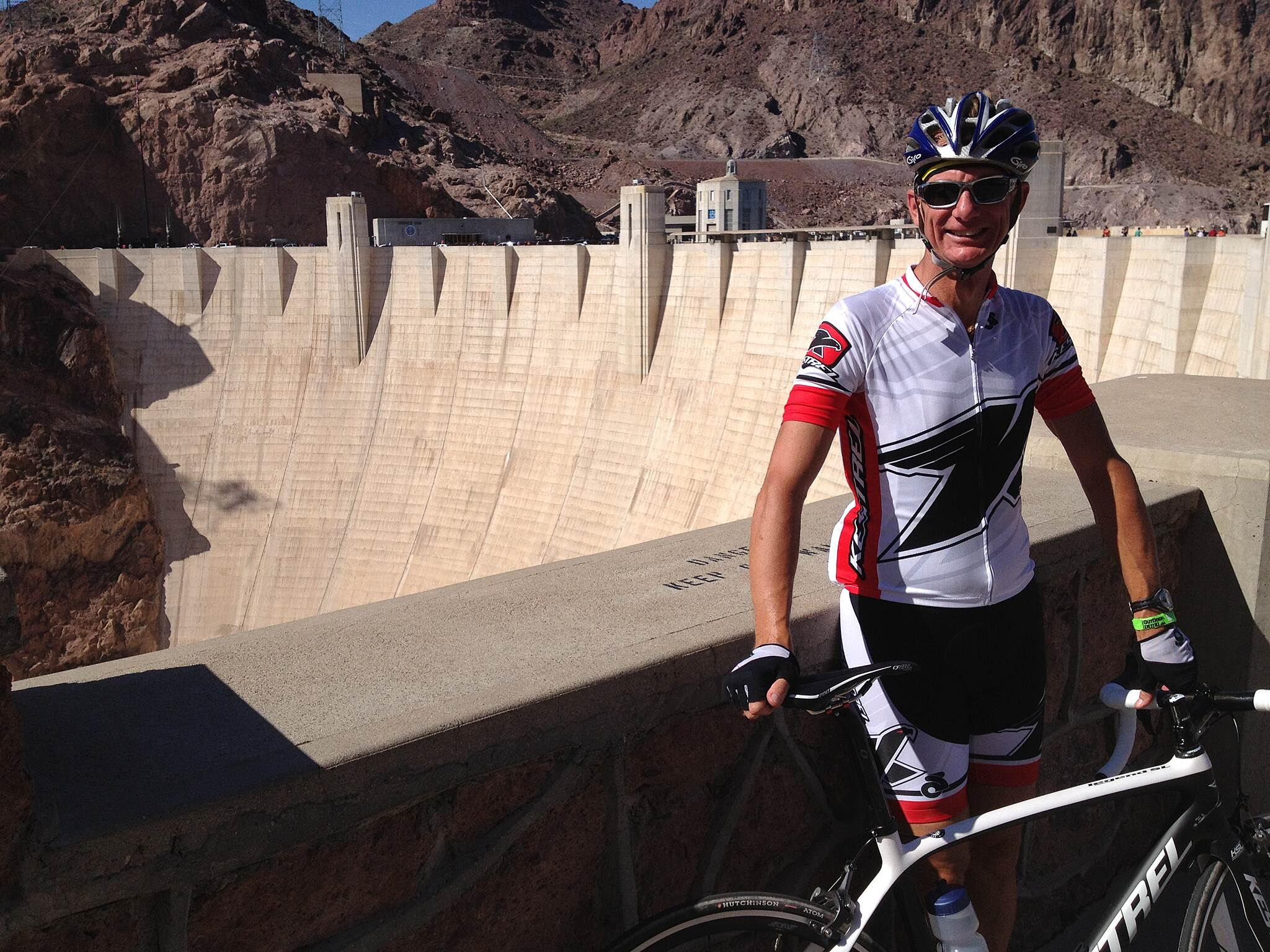 Historic Railroad Trail Steve ready to ride Hoover Dam and Tunnel Trail Interbike Bike Demo Day 1, Steve and I get ready to try out the new Tunnel Trail. The recently built bridge over the Colorado has nicely diverted almost all traffic from Hoover Dam. I rode here a few years earlier and it was completely mobbed with cars.