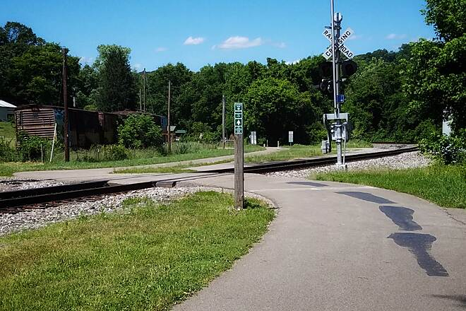 Hockhocking Adena Bikeway Crossing the Hocking Valley Scenic Railway  Michael.orban.photography@gmail.com