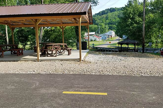 Holmes County Trail  East trailhead  Looking into the village of Gann