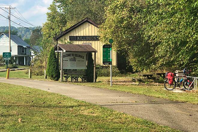 Holmes County Trail Killbuck Arrival Just a quick stop to eat a snack and drink some water at the trail end in Killbuck.  Eight miles of on-road riding to Glenmont will get me to the trailhead of the southern section of the Holmes County Trail.  October 2019