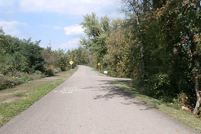 Holmes County Trail Entrance to plaza Trail entrance to the Wal Mart
