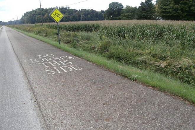 Holmes County Trail Bike Lane though sometimes the buggy drivers can't get it right....