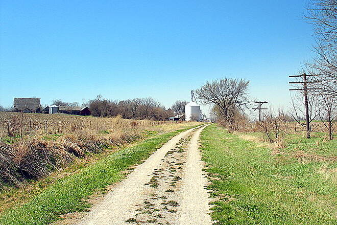 Hoover Nature Trail (Oasis to West Branch) Oasis, IA The small hub of Oasis, Iowa off in the distance. The trail currently ends in this town, but the remains of the railroad can be seen all the way to Morse.