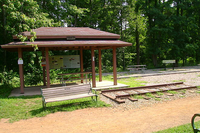 Hop River State Park Trail  Visitor center on the Vernon trail, with preserved section of railroad track.