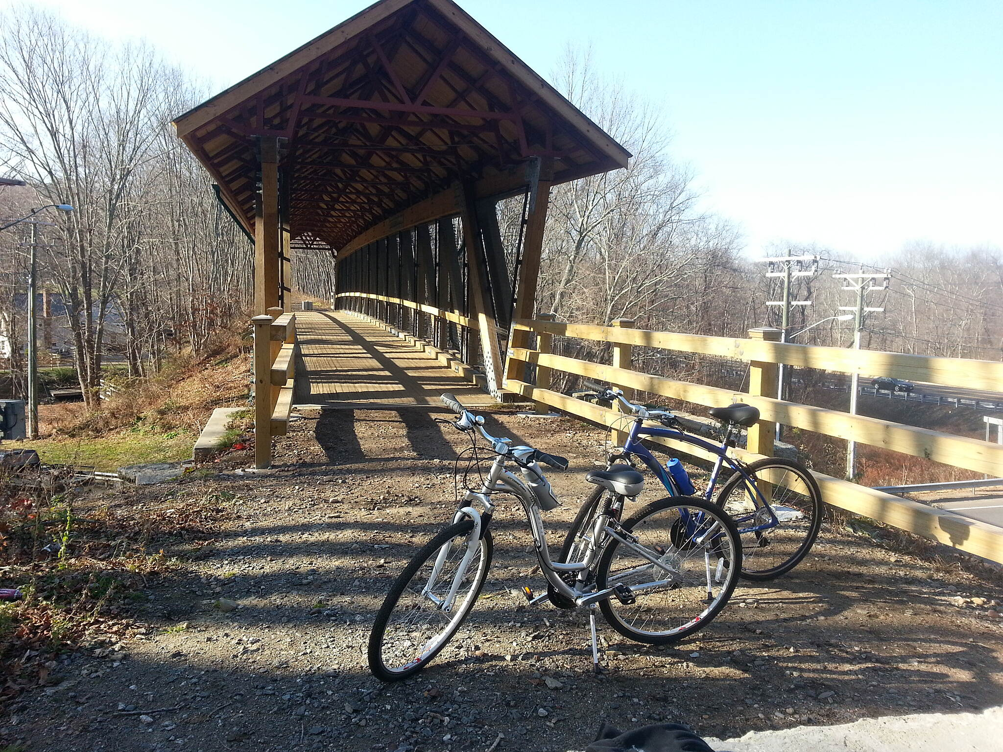 Hop River State Park Trail Covered Bridge Trail bridge over Hebron Rd. adjacent the Andover Veterans Memorial Park