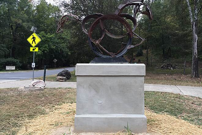 Hot Springs Creek Greenway Trail Horse Sculpture This sculpture was recently installed near the Hollywood Trail section of the Hot Springs Creek Greenway Trail.