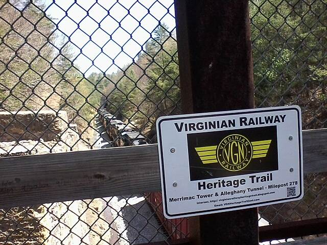 Huckleberry Trail VGN railway heritage marker The markers are located throughout West Virginia and Virginia at historic locations along the Virginian railway. A link to it's site is below.