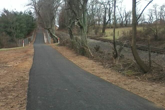 Huckleberry Trail New section paralleling tracks Section behind Walmart and Home Depot between Cambria St and NRV mall