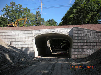Hudson Valley Rail Trail phase2 construction - new tunnel the new finished tunnel under Mile Hill Rd. in the town of Lloyd