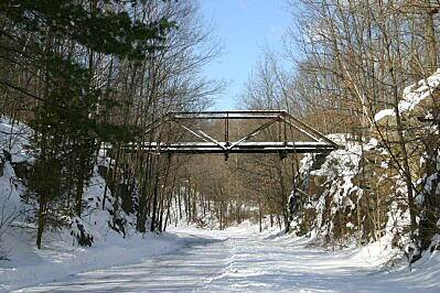 Hudson Valley Rail Trail Trestle in the Winter The trail after a late January 2004 snow storm.